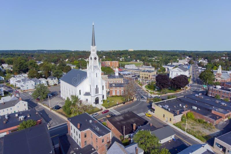 Woburn downtown aerial view, Massachusetts, USA. Woburn First Congregational Church aerial view in downtown Woburn, Massachusetts, USA royalty free stock photos
