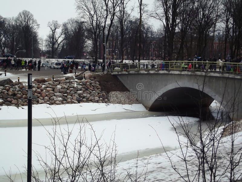 Wochenende nahe Fluss Jalgava zu den Flüssen, Land Lettland, im Winter lizenzfreie stockfotos