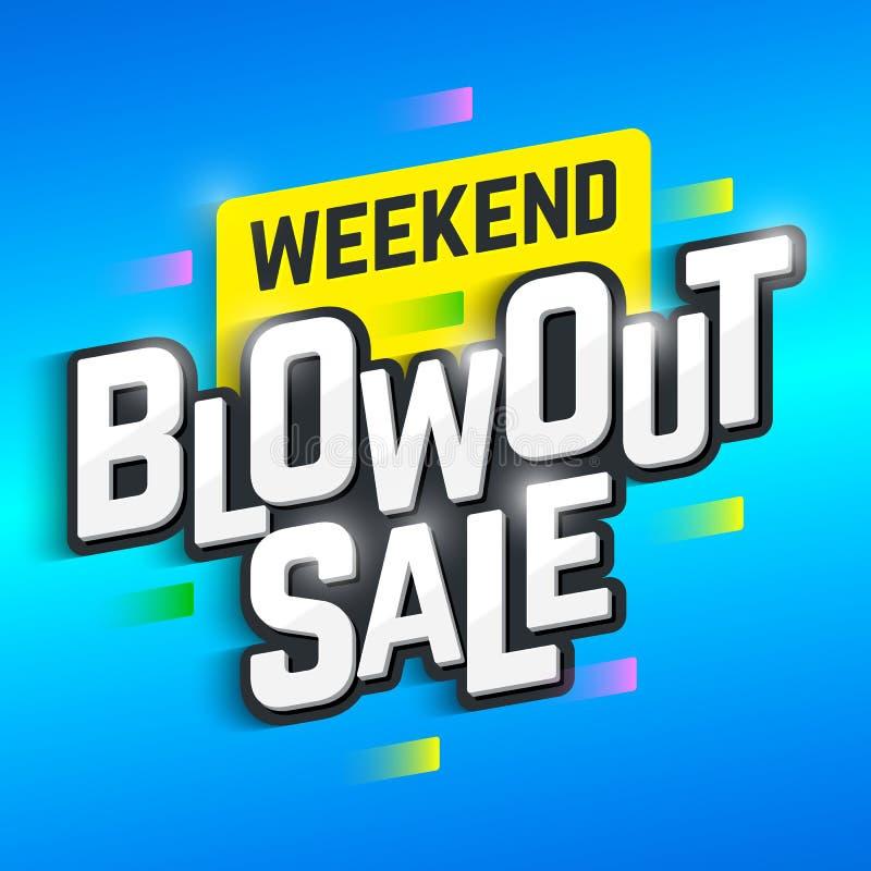 Wochenenden-Ausblasen-Verkaufsfahne lizenzfreie abbildung