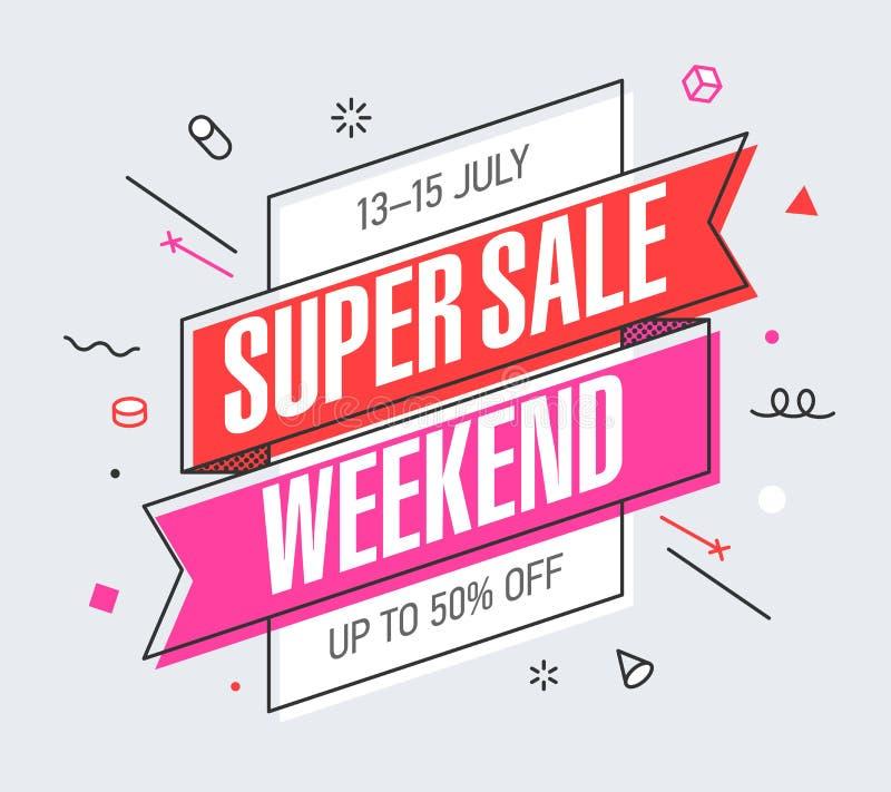 Wochenenden-Superverkaufsfahne lizenzfreie abbildung