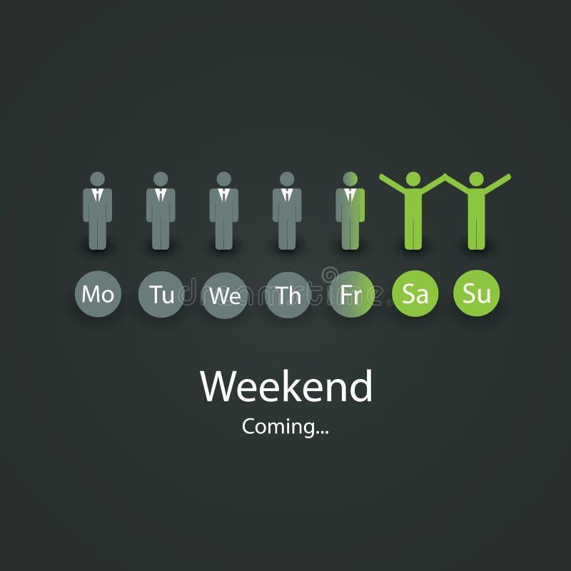 Wochenendes bald kommend Illustration stock abbildung