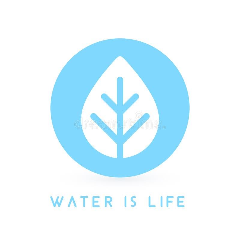 Woda jest życia pojęcia wody kropli liścia ikoną również zwrócić corel ilustracji wektora ilustracji