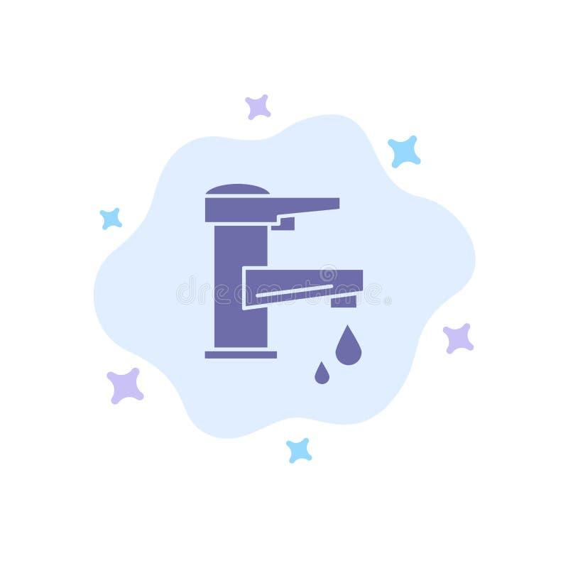 Woda kranowa, ręka, klepnięcie, woda, Faucet, Opadowa Błękitna ikona na abstrakt chmury tle ilustracji
