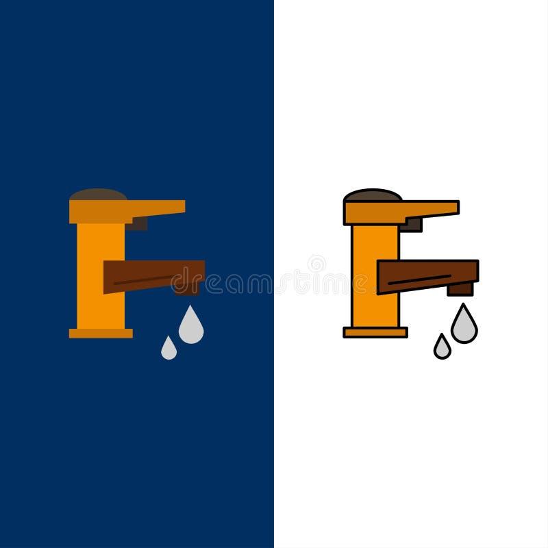 Woda kranowa, ręka, klepnięcie, woda, Faucet, Opadowe ikony Mieszkanie i linia Wypełniający ikony Ustalony Wektorowy Błękitny tło ilustracji