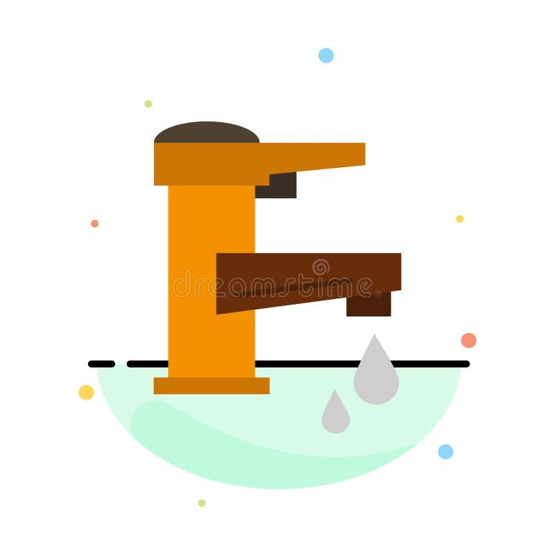 Woda kranowa, ręka, klepnięcie, woda, Faucet, Opadowy Abstrakcjonistyczny Płaski kolor ikony szablon ilustracji