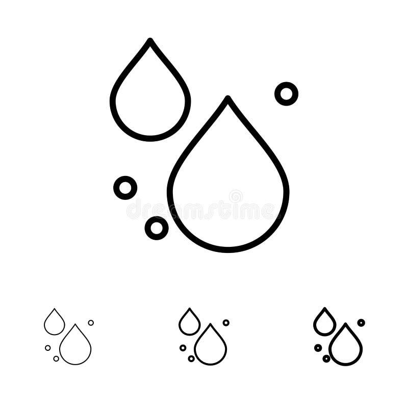 Woda, kropla, Skacze Śmiały i cienki czerni linii ikony set ilustracji