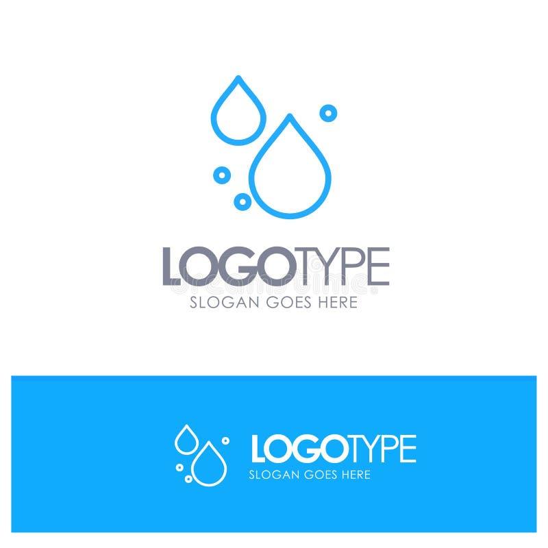 Woda, kropla, Skacze Błękitny konturu logo z miejscem dla tagline ilustracja wektor
