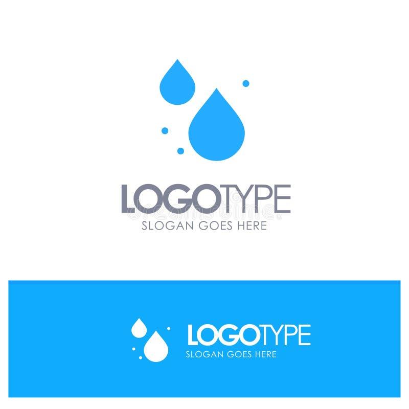 Woda, kropla, Skacze Błękitny Stały logo z miejscem dla tagline ilustracji