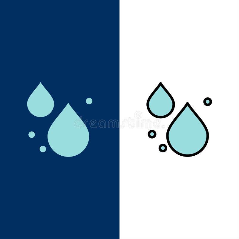 Woda, kropla, wiosen ikony Mieszkanie i linia Wypełniający ikony Ustalony Wektorowy Błękitny tło ilustracji