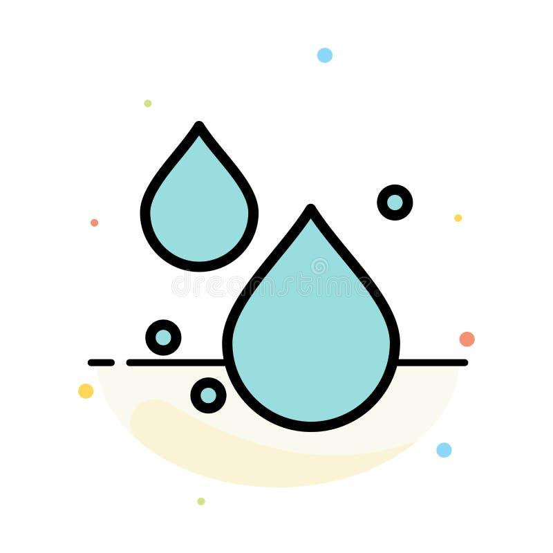 Woda, kropla, wiosna koloru ikony Abstrakcjonistyczny Płaski szablon ilustracji