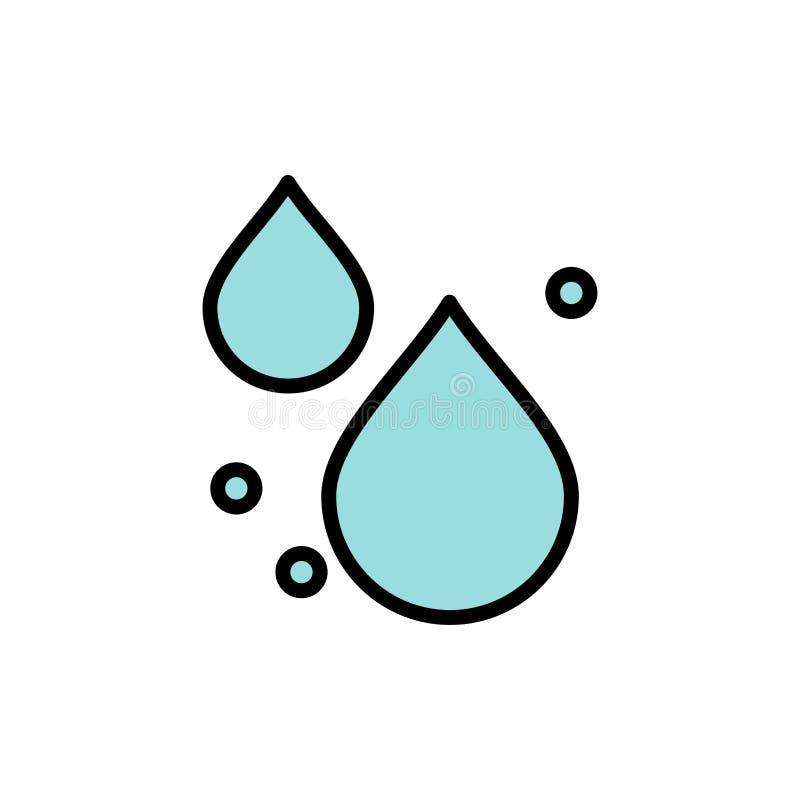Woda, kropla, wiosna koloru Płaska ikona Wektorowy ikona sztandaru szablon royalty ilustracja