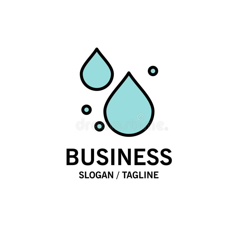 Woda, kropla, wiosna logo Biznesowy szablon p?aski kolor ilustracji