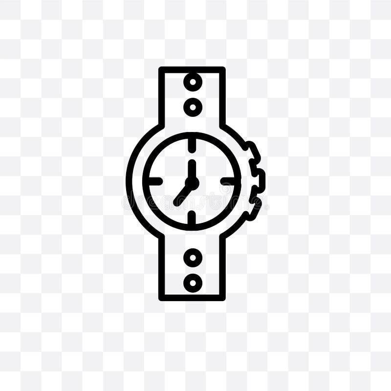 Woda Opiera się zegarek wektorową liniową ikonę odizolowywającą na przejrzystym tle, woda Opiera się zegarek przezroczystości poj ilustracja wektor