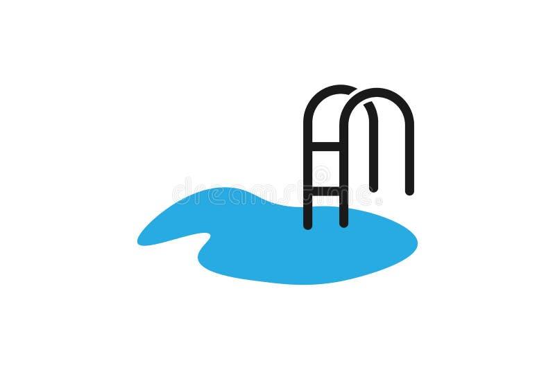 Woda, schodek, Plażowa pływackiego basenu loga projekta inspiracja Odizolowywająca Na białych tło ilustracji