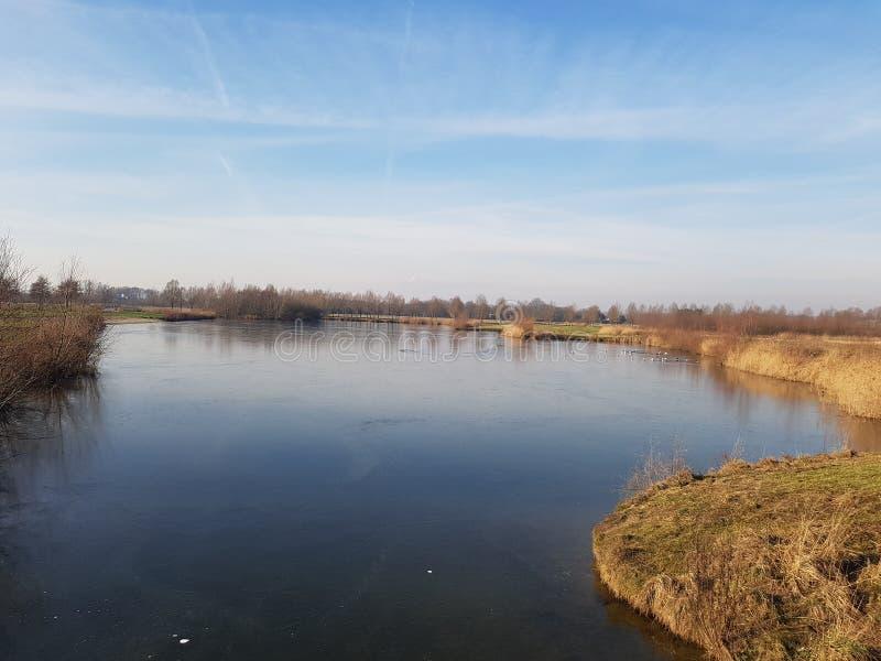 Woda w het zimy landschap zdjęcie royalty free