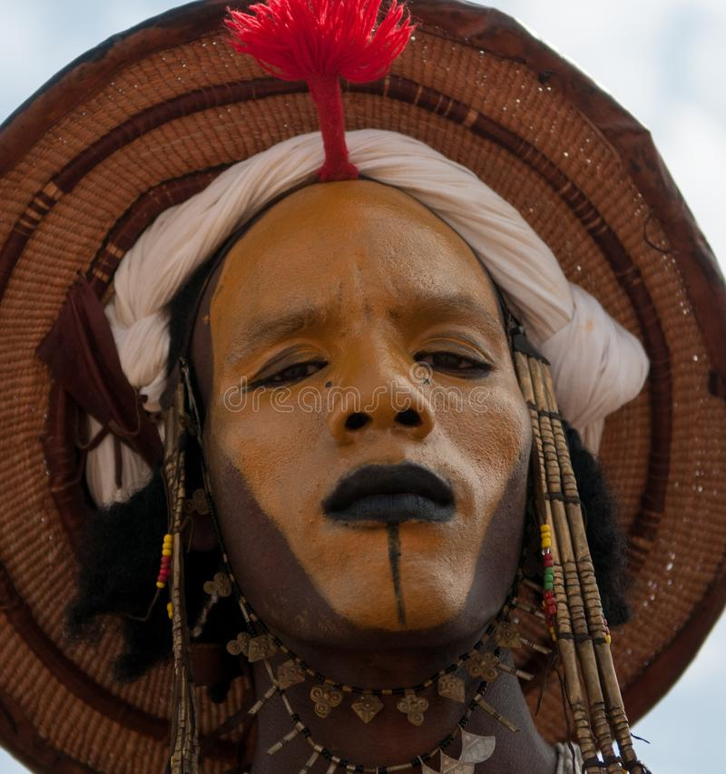 Wodaabe mężczyzna przy Gerewol, lekarstwo Salee, Niger fotografia stock