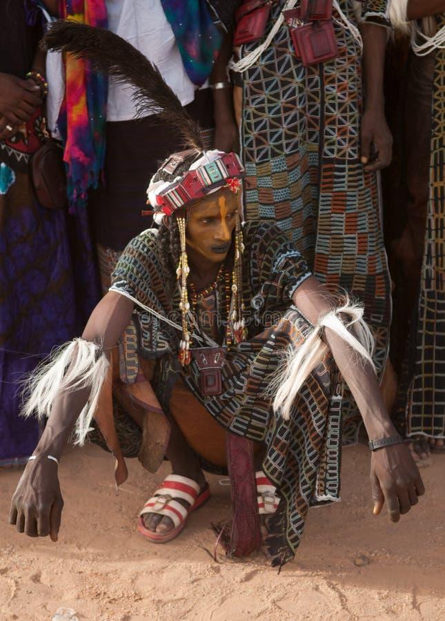 Wodaabe mężczyzna przy Gerewol, lekarstwo Salee, Niger obrazy stock