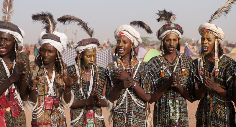 Wodaabe mężczyzna przy Gerewol, lekarstwo Salee, Niger fotografia royalty free
