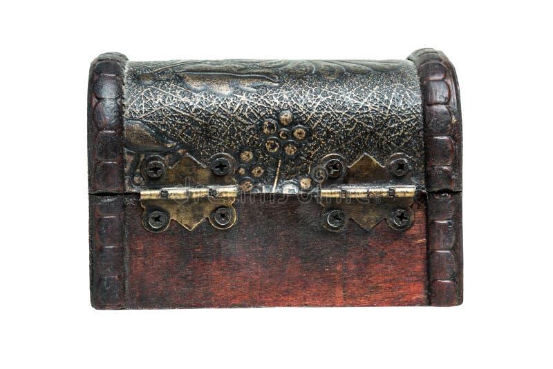 Wodden винтажная коробка, комод на белой предпосылке вакханические стоковая фотография