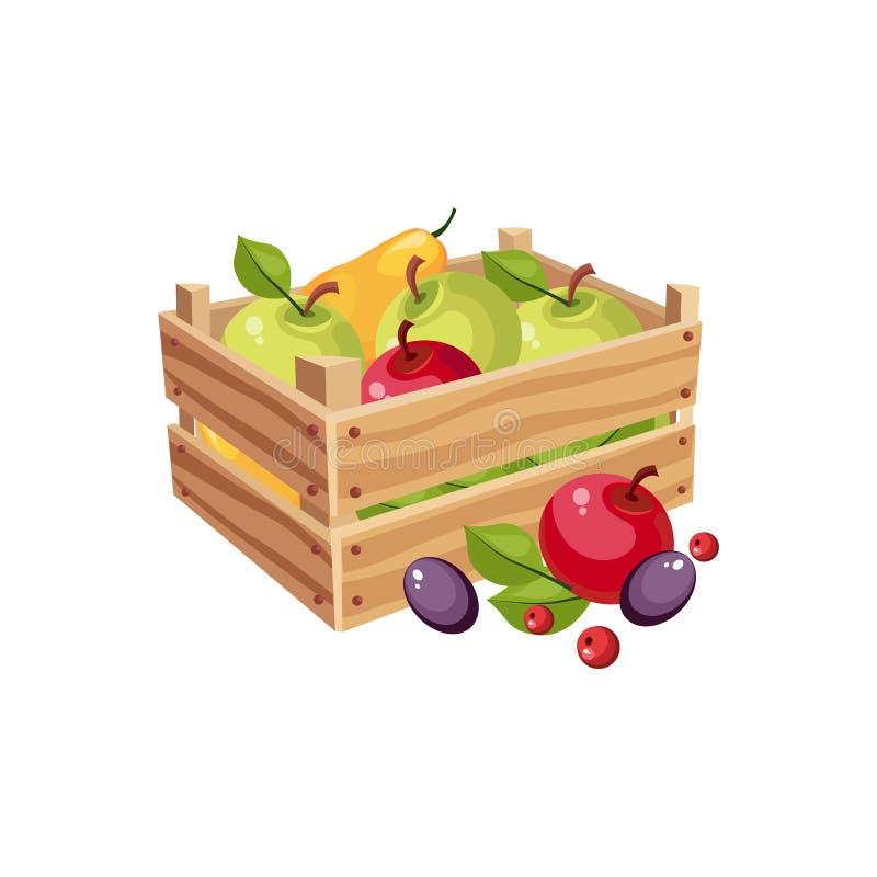 Wodden-Kiste voll Garten-Früchte, Bauernhof und Landwirtschaft der dazugehörigen Abbildung in der hellen Karikatur-Art lizenzfreie abbildung
