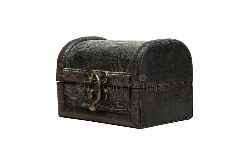 A wodden uitstekende doos, borst op witte achtergrond, Isolatiemasker royalty-vrije stock fotografie
