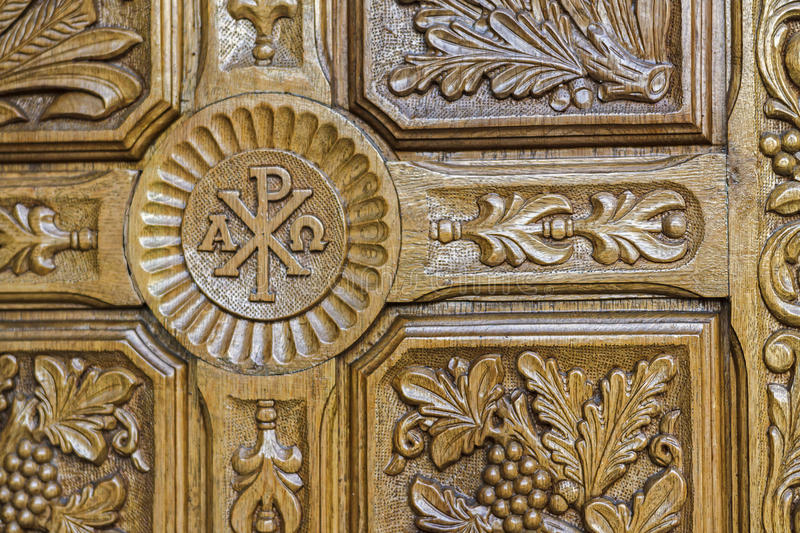 Woden door. Detail of the wooden door of the church in Neptune, holiday resort on the Black Sea, Romania royalty free stock photography