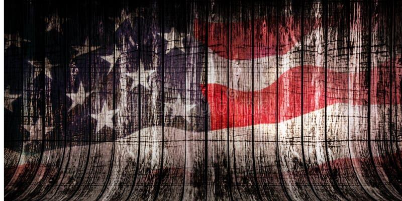 Woden-Hintergrund mit bedeckter amerikanischer Flagge, Veteranentageskonzept stockfotos
