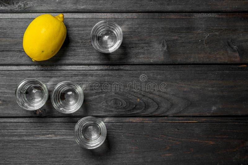 Wodka en citroen royalty-vrije stock fotografie