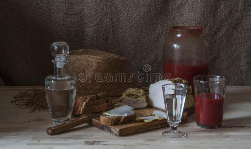 Wodka mit Tomatensaft stockfotos