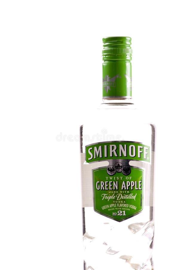 Wodka van de Appel van Smirnoff de Groene stock afbeelding