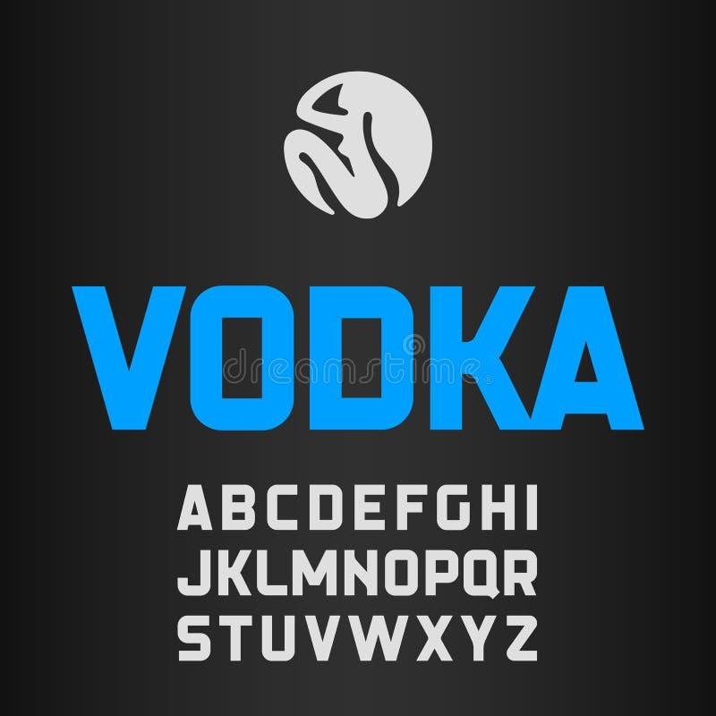 Wodkaetiket, moderne stijldoopvont vector illustratie