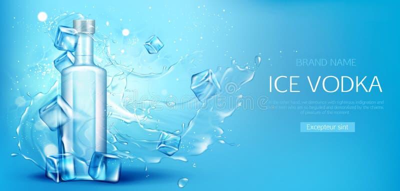 Wodkaflasche mit Eiswürfel-Modell Promofahne stock abbildung