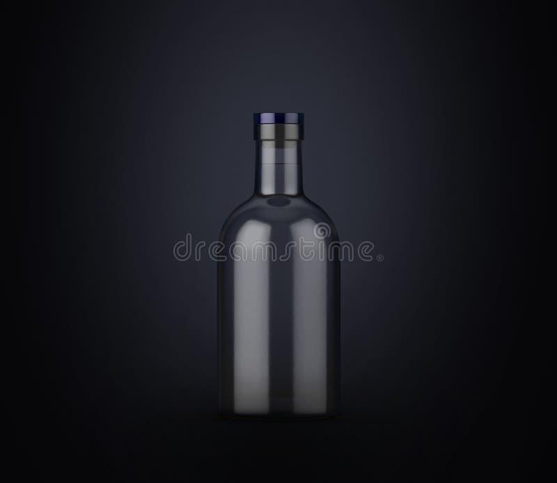 Wodkafles op donkere achtergrond Product het ontwerp van het verpakkingsmerk Spot op drank met plaats voor u tekst stock illustratie