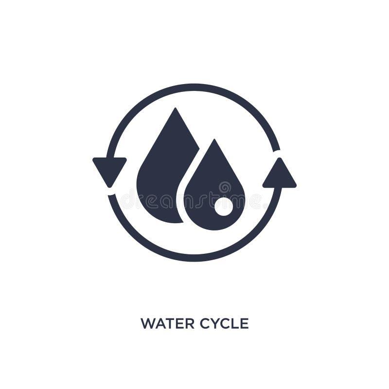 wodna cykl ikona na białym tle Prosta element ilustracja od ekologii pojęcia royalty ilustracja