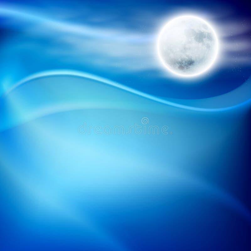 Wodna fala przy nocą z fullmoon ilustracji