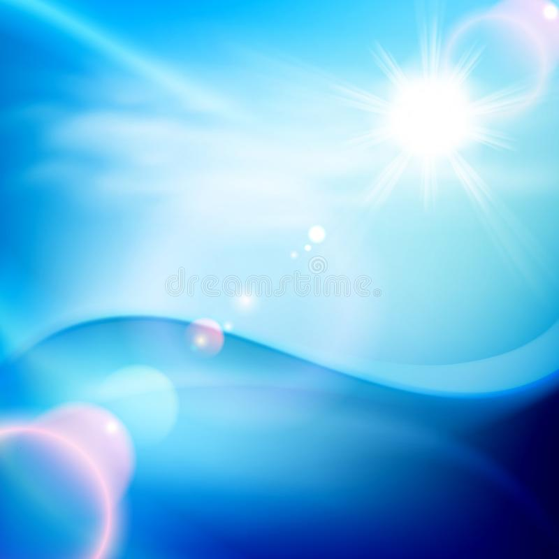 Wodna fala w słonecznym dniu niebieska tła ilustracja wektor