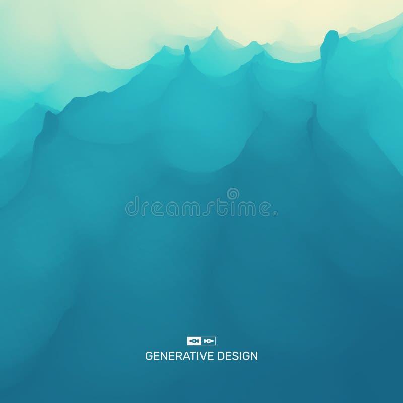 Wodna Fala z?ote czochr w?d powierzchniowych w kontek?cie niebieskie chmury odpowiadaj? trawy zielone niebo bia?e wispy natury No ilustracja wektor
