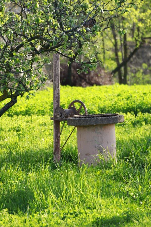 Wodna fontanna w ogr?dzie stary używać w kraju obrazy royalty free