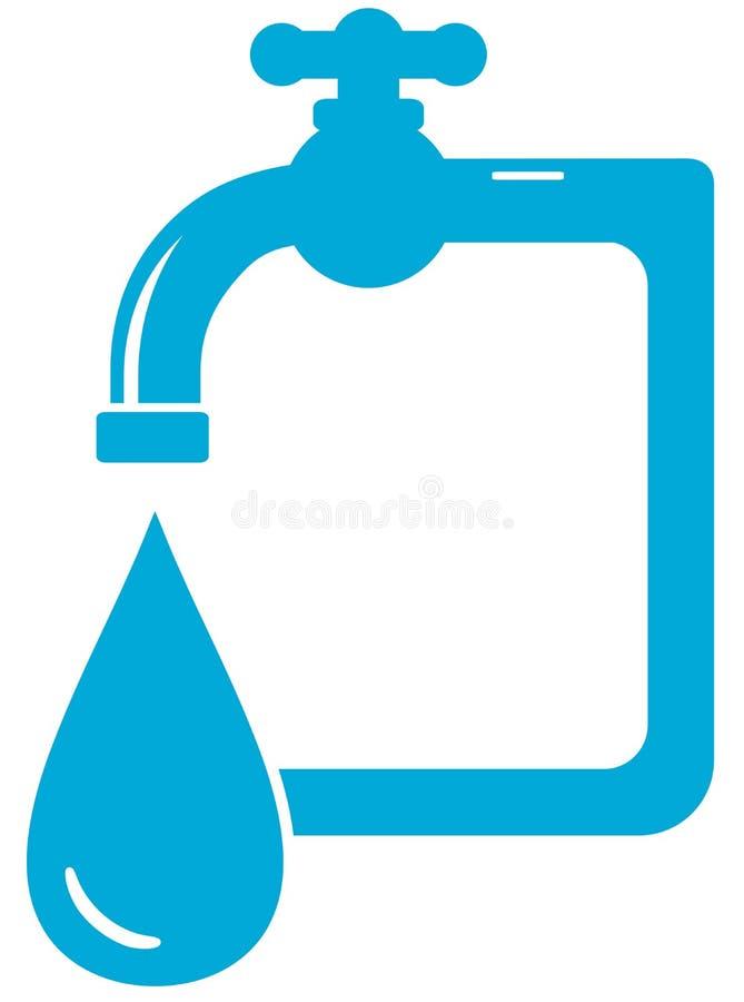 Wodna ikona z kranowym faucet i kroplą royalty ilustracja