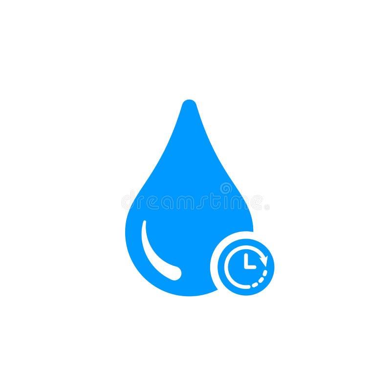 Wodna ikona z zegaru znakiem Wodna ikona i odliczanie, ostateczny termin, rozkład, planistyczny symbol ilustracja wektor