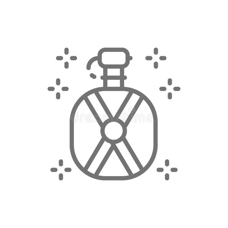 Wodna kolba, termos butelki linii ikona ilustracji