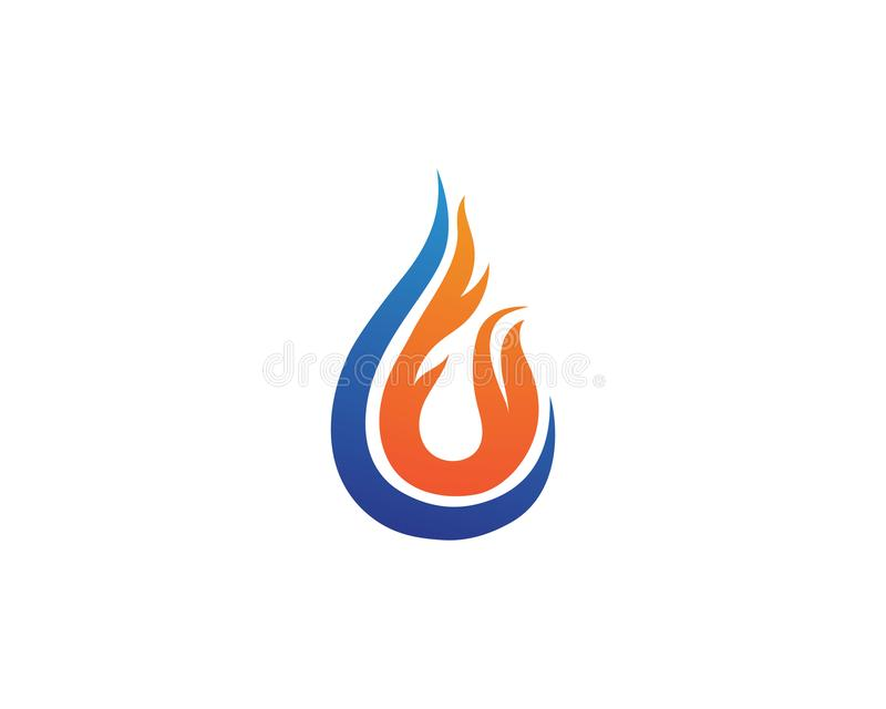 Wodna kropla i ogienia loga szablon ilustracja wektor