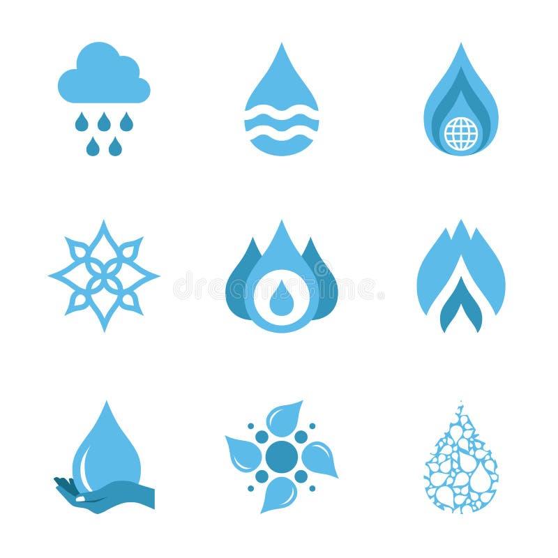 Wodna kropla kształtuje kolekcję przygotowywa ikonę royalty ilustracja