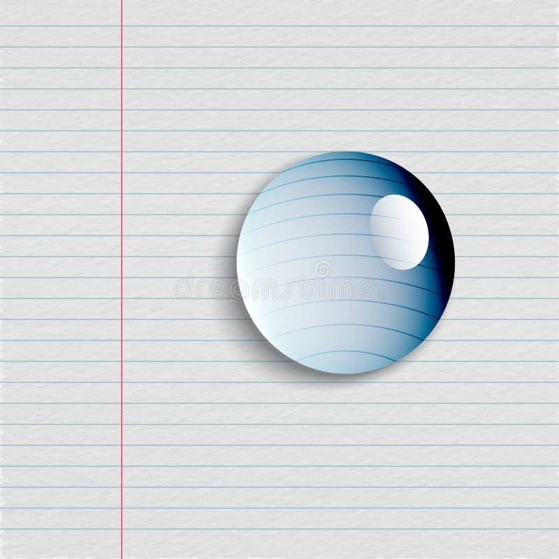 Wodna kropla Na notatnika papierze, Kreatywnie ilustracja wektor