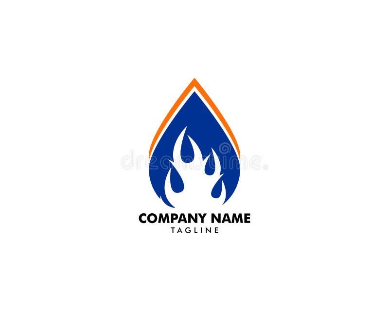 Wodna kropla ogienia logo projekta szablonu ikona royalty ilustracja
