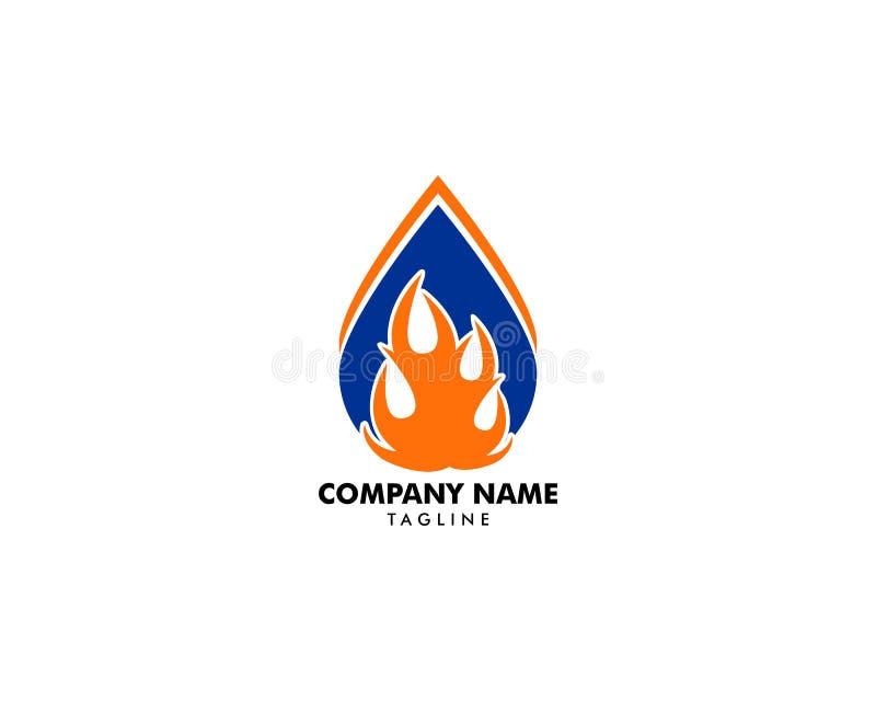 Wodna kropla ogienia logo projekta szablonu ikona ilustracja wektor