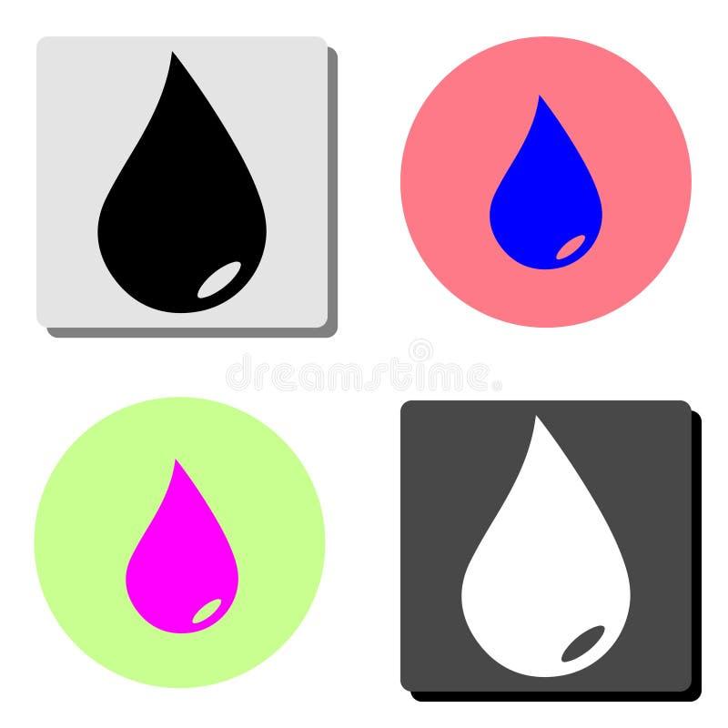 Wodna kropla Płaska wektorowa ikona ilustracja wektor