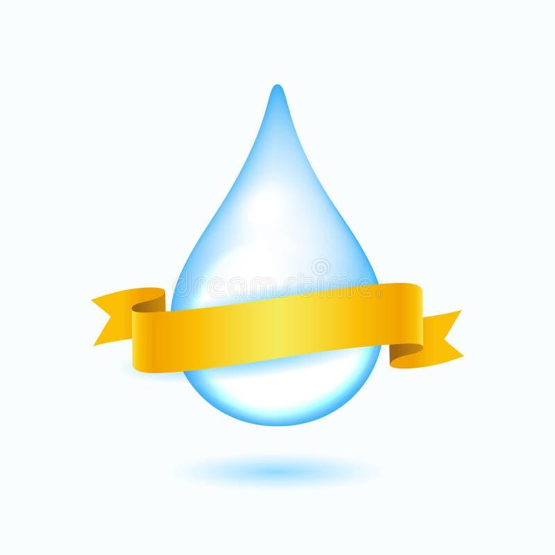 Wodna kropla z żółtym faborkiem ilustracja wektor