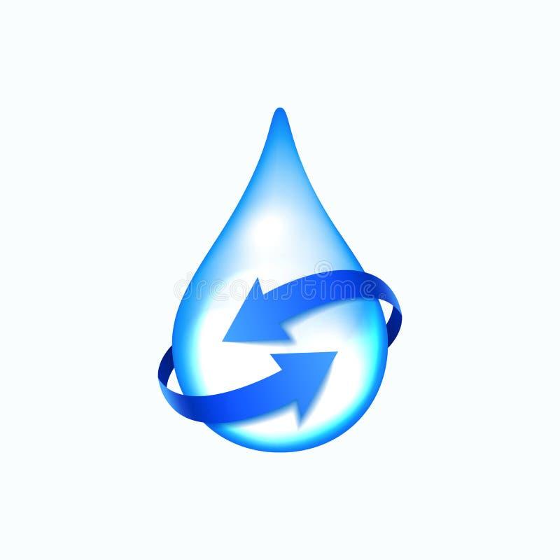 Wodna kropla z błękitnymi strzała ilustracji