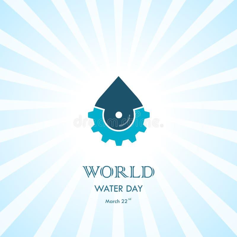 Wodna kropla z cog ikony loga projekta wektorowym szablonem Świat woda ilustracja wektor